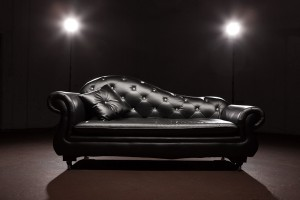Contemporary Black Leather Chaise