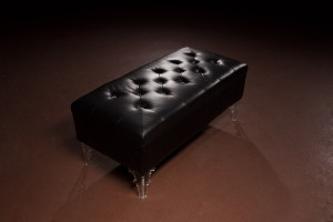 Contemporary Black Leather Ottoman